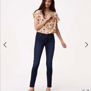 Loft Super Skinny Jeans In Dark Rinse